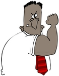 Clipart Illustration of a Tough Strong Black Man Flexing His Big